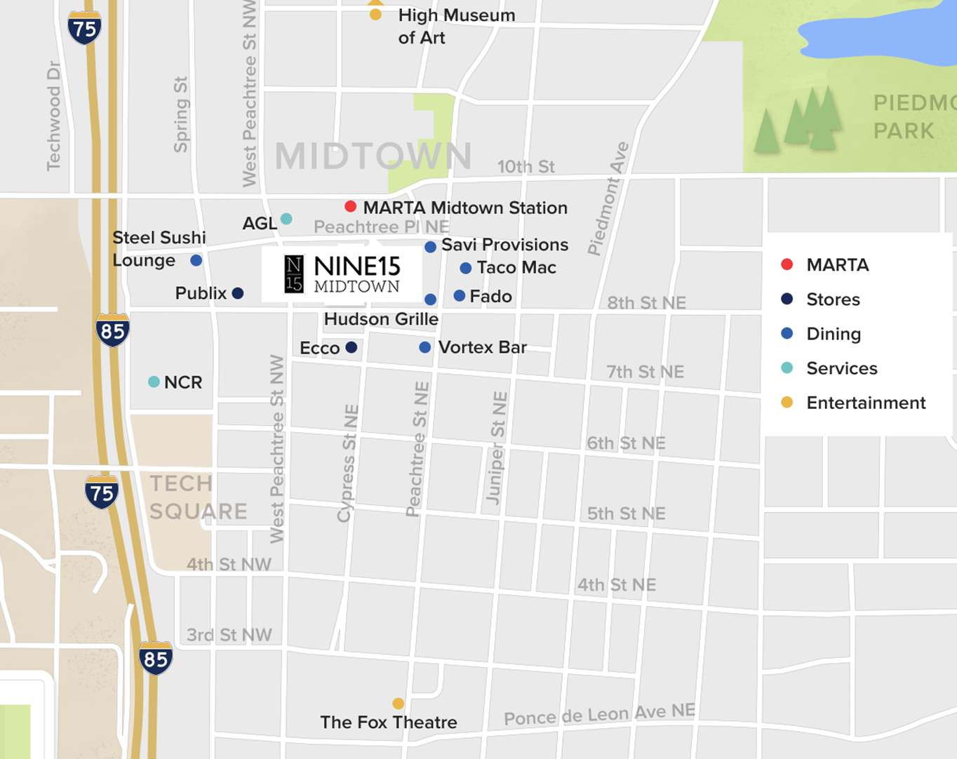 Midtown Atlanta Map and Attractions | Nine15 Midtown